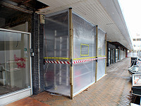 Asbestos enclosure external view shopping centre
